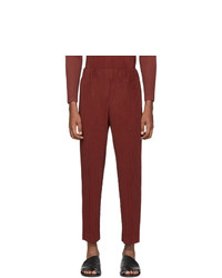 Homme Plissé Issey Miyake Red Heather Pleats Trousers