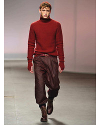 Topman Burgundy Wax Coated Wide Leg Chinos