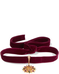 Percossi Papi Velvet And Gold Plated Multi Stone Choker Burgundy