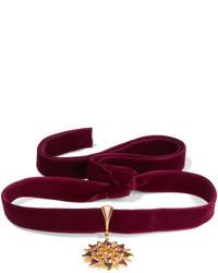 Percossi papi velvet and gold plated multi stone choker burgundy medium 1201436