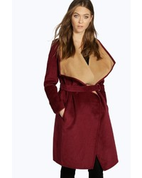 Boohoo Boutique Ella Belted Contrast Waterfall Coat