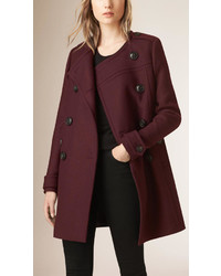 Burberry Brit Collarless Wool Blend Coat