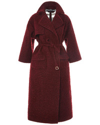 Rochas Dark Red Rustic Wool Coat Dark Red