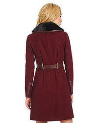 Badgley Mischka Fit And Flare Fur Leather Trim Coat