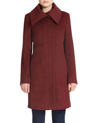 Jones New York Fold Over Collar Wool Blend Coat