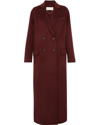 Vanessa Bruno Frisbane Double Breasted Wool And Cashmere Blend Coat Burgundy