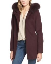 Genuine fox hooded wool coat medium 8652566