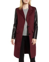 LaMarque Leather Sleeve Wool Topcoat