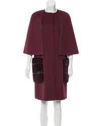 Fendi Mink Trimmed Wool Coat