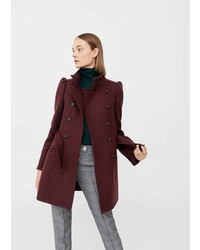 Mango Puffed Shoulder Wool Coat