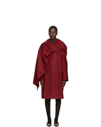 Balenciaga Red Houndstooth Scarf Coat