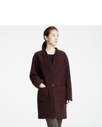 Uniqlo Soft Wool Blend Collarless Coat