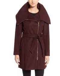 Cole Haan Signature Belted Asymmetrical Wool Blend Coat