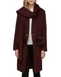 Soia & Kyo Wool Blend Genuine Fox Coat
