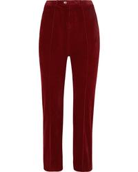 Chloé Cropped Cotton Blend Corduroy Straight Leg Pants