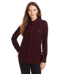 Burgundy Corduroy Dress Shirts for Women | Women's Fashion