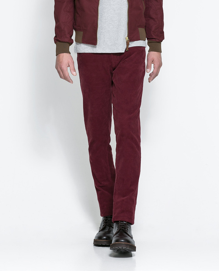 35aa1fb4 Slim Corduroy Trousers. Burgundy Corduroy Jeans by Zara