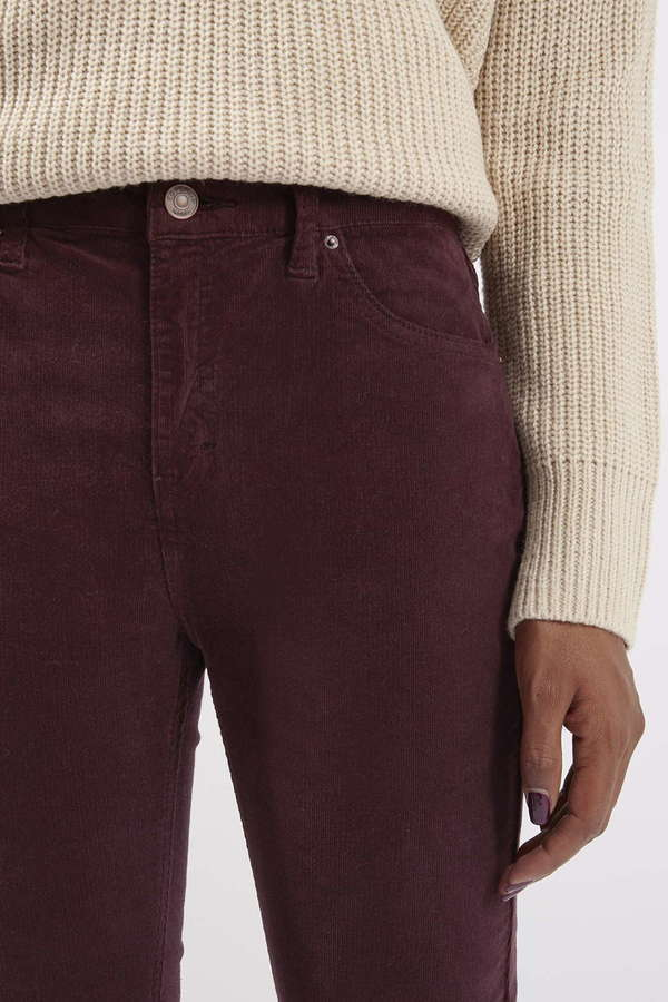hot sale 50% off pretty cool Topshop Moto Burgundy Cord Jamie Jeans, $75 | Topshop | Lookastic.com