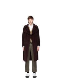 Neil Barrett Burgundy Corduroy Trench Coat