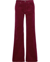 Corduroy wide leg pants burgundy medium 5387648