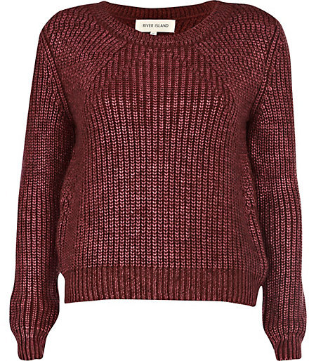 River Island Burgundy Metallic Chunky Knit Sweater | Where to buy ...