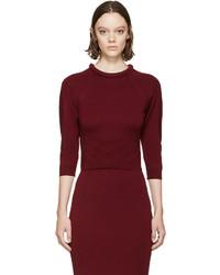 Alexander McQueen Burgundy Padded Neckline Sweater