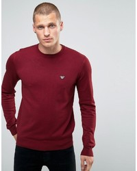 Armani Jeans Sweater With Crew Neck With Eagle Logo In Burgundy