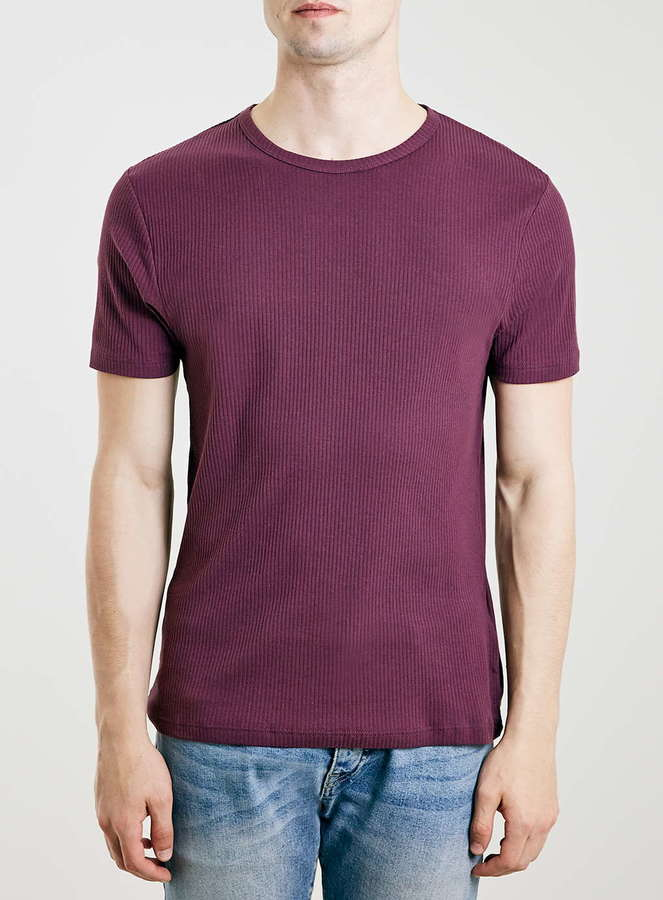 3b8e8dbde Topman Burgundy Ribbed Muscle Fit T Shirt, $20 | Topman | Lookastic.com