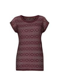 New Look Burgundy Aztec Lace T Shirt