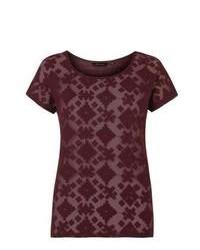 New Look Burgundy Aztec Mesh T Shirt