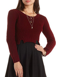 Charlotte Russe Cropped Pointelle Pullover Sweater