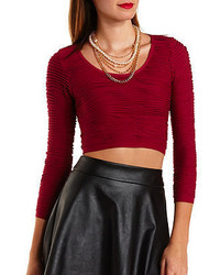 Charlotte Russe Textured Scuba Knit Crop Top