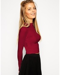 Asos Collection The Turtleneck Crop Top With Long Sleeves