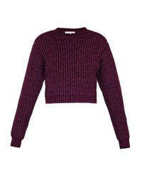 Carven Cropped Wool Blend Sweater