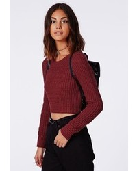 Missguided berte cropped knit jumper burgundy medium 102915