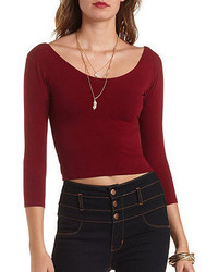 Charlotte Russe Three Quarter Sleeve Crop Top