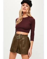 Missguided Burgundy Crew Neck Ribbed Crop Top
