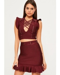 Missguided Burgundy Frill Sleeve Criss Cross Bandage Crop Top