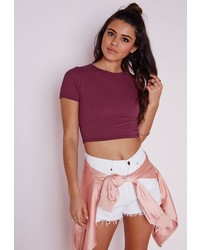 Missguided Capped Sleeve Ribbed Crop Top Burgundy