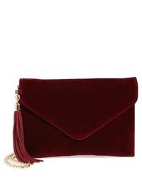 Tassel Velvet Crossbody Bag Burgundy