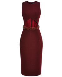 Cushnie et Ochs Bead Embellished Stretch Jersey Dress Bordeaux