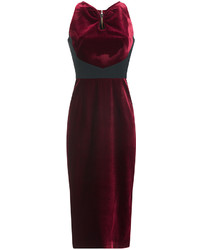 Roland Mouret Velvet Sheath With Contrast Paneling