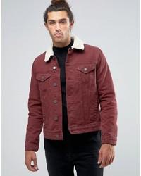 new styles 38357 d9bdb ... Asos Slim Denim Jacket In Burgundy With Fleece Collar
