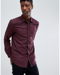 ASOS DESIGN Regular Fit Western Viscose Shirt In Burgundy