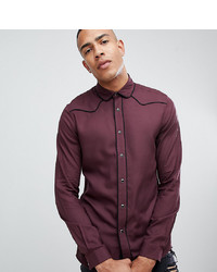 ASOS DESIGN Tall Regular Fit Western Viscose Shirt In Burgundy