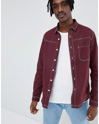 ASOS DESIGN Washed Overshirt With Contrast Stitching In Burgundy