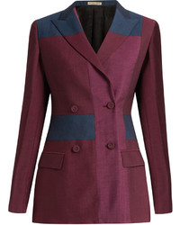 Bottega Veneta Peak Lapel Patchwork Wool Blend Blazer