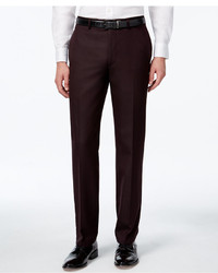 Calvin Klein Burgundy Flat Front Slim Fit Dress Pants