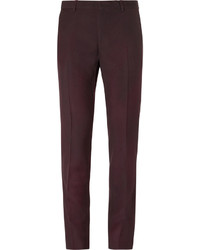 Lanvin Burgundy Slim Fit Overdyed Brushed Wool Gabardine Suit Trousers