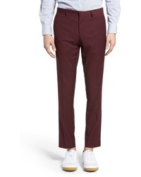 Topman Burgundy Slim Fit Suit Trousers